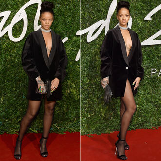 coat dress rihanna black clutch sandals bag coat blazer dress