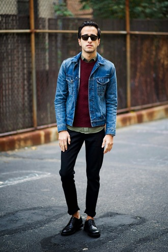 the metro man blogger jacket jeans jewels menswear sunglasses denim jacket burgundy mens shoes mens denim jacket