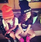 hat,black,pink,homies,beanie,dope