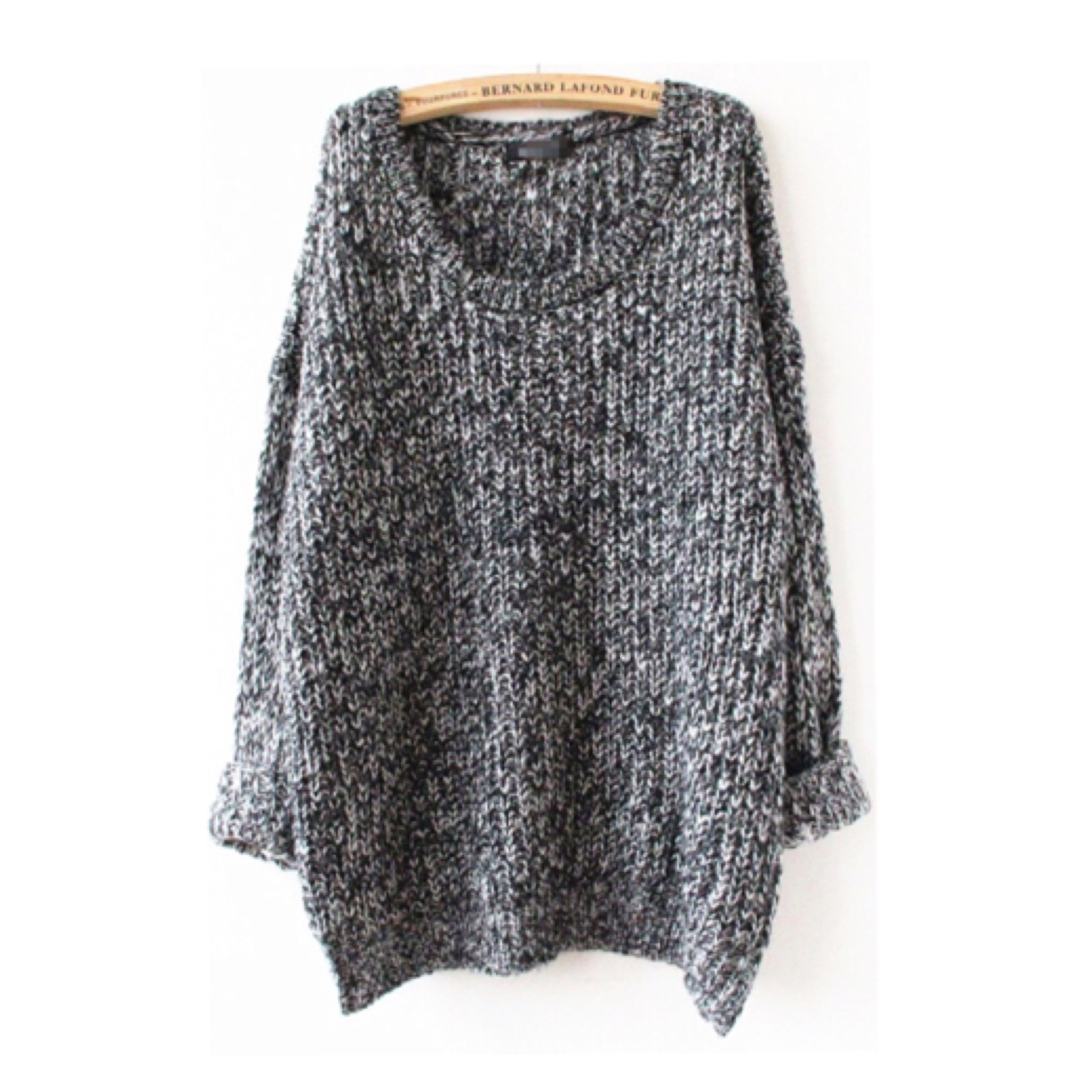 Grey sweater oversized knit pullover top