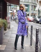 dress,floral dress,ruffle dress,printed dress,long sleeve dress,midi dress,boots,black boots,knee high boots,crossbody bag,mini bag,turtleneck,sunglasses