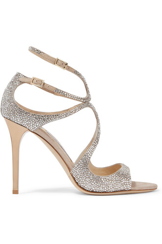 metallic embellished sandals suede silver beige shoes