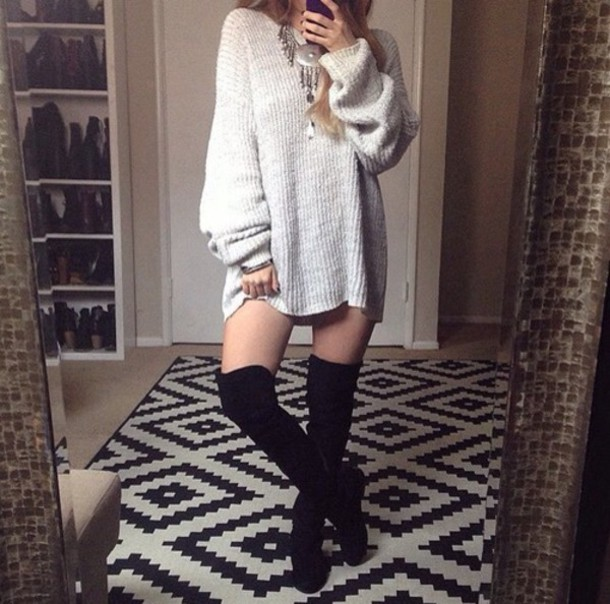 shoes black boots black boots high thigh highs knee knee high over the knee suede tumblr fashion shirt sweater