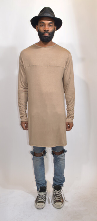 t-shirt t-shirt dress hipster menswear mens t-shirt long sleeves neutral colors ripped/distressed/destroyed jean shorts trendy bloggerstyle converse oversized long tee