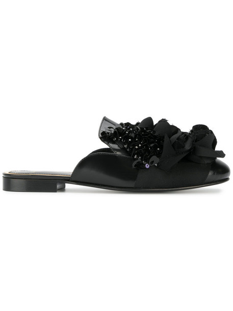 women embellished mules floral leather black shoes