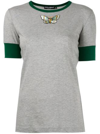 t-shirt shirt embroidered women butterfly cotton grey top