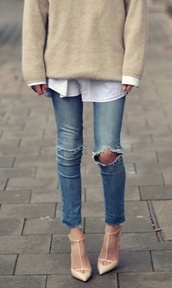 shoes,nude,pointy toe shoes,kitten heel,pointy,strappy sandals,sandals,nude high heels,strappy heels,studs,sweater,oversized sweater,jeans,cardigan,ripped jeans