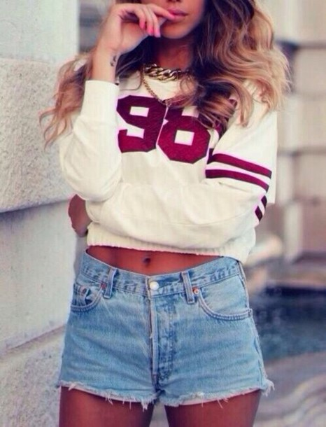 shirt white 98 sweater t-shirt jewelry sportswear shorts jeans blouse crop tops