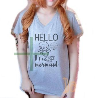 t-shirt mermaid shirt seashell shirt shell mermaid hello shirt women shirts