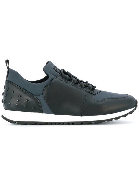 TOD'S women sneakers lace leather blue shoes