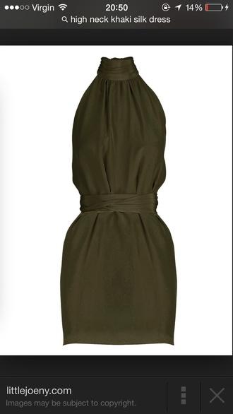 khaki satin silk high neck turtleneck green dress dress backless dress backless tie up