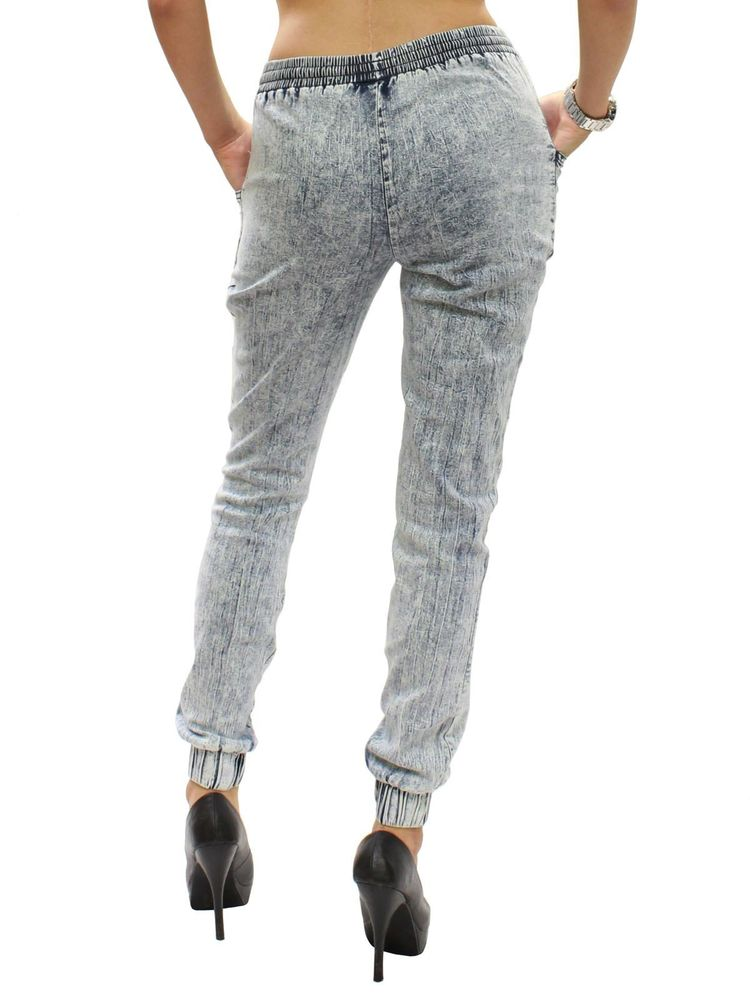 New Light Blue Acid Wash Soft Denim Elastic Waist Jogger Pants Size S-2XL RF433