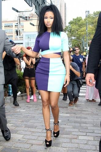 top crop tops skirt nicki minaj fashion week 2014