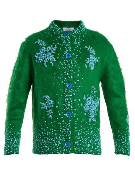 Prada cardigan cardigan oversized embellished mohair green sweater