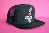 hat,khaosity,shopkhaosity,snapback,studs,studded,inverted cross,cross,studded cross,trucker hat,black hat,cross hat,diy,flatbill