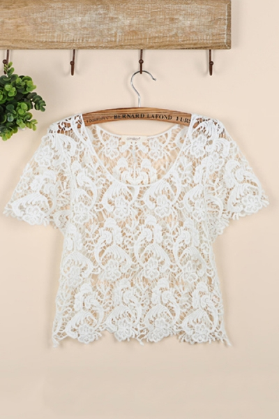 Pure Color Cropped Lace Top - OASAP.com