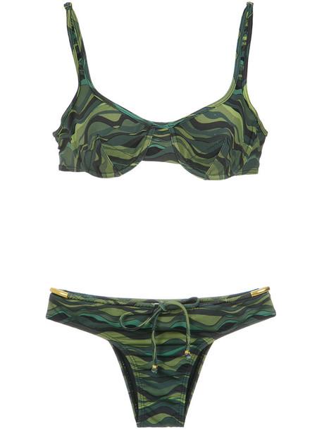 AMIR SLAMA bikini women spandex drawstring green swimwear