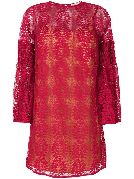 dress bell sleeve dress women lace purple pink