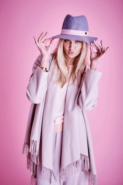 en vogue coop blogger hat pants pastel lilac scarf sweater coat
