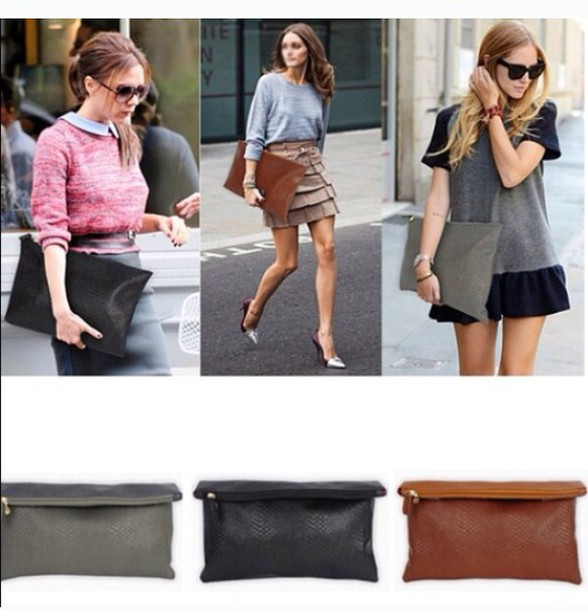 Bag: brown black gray oversized clutch bag celebrity style ...