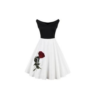 dress audrey hepburn 50s style vintage dress black and white midi dress