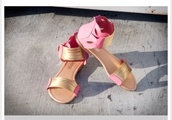 shoes,pink,gold,sandals