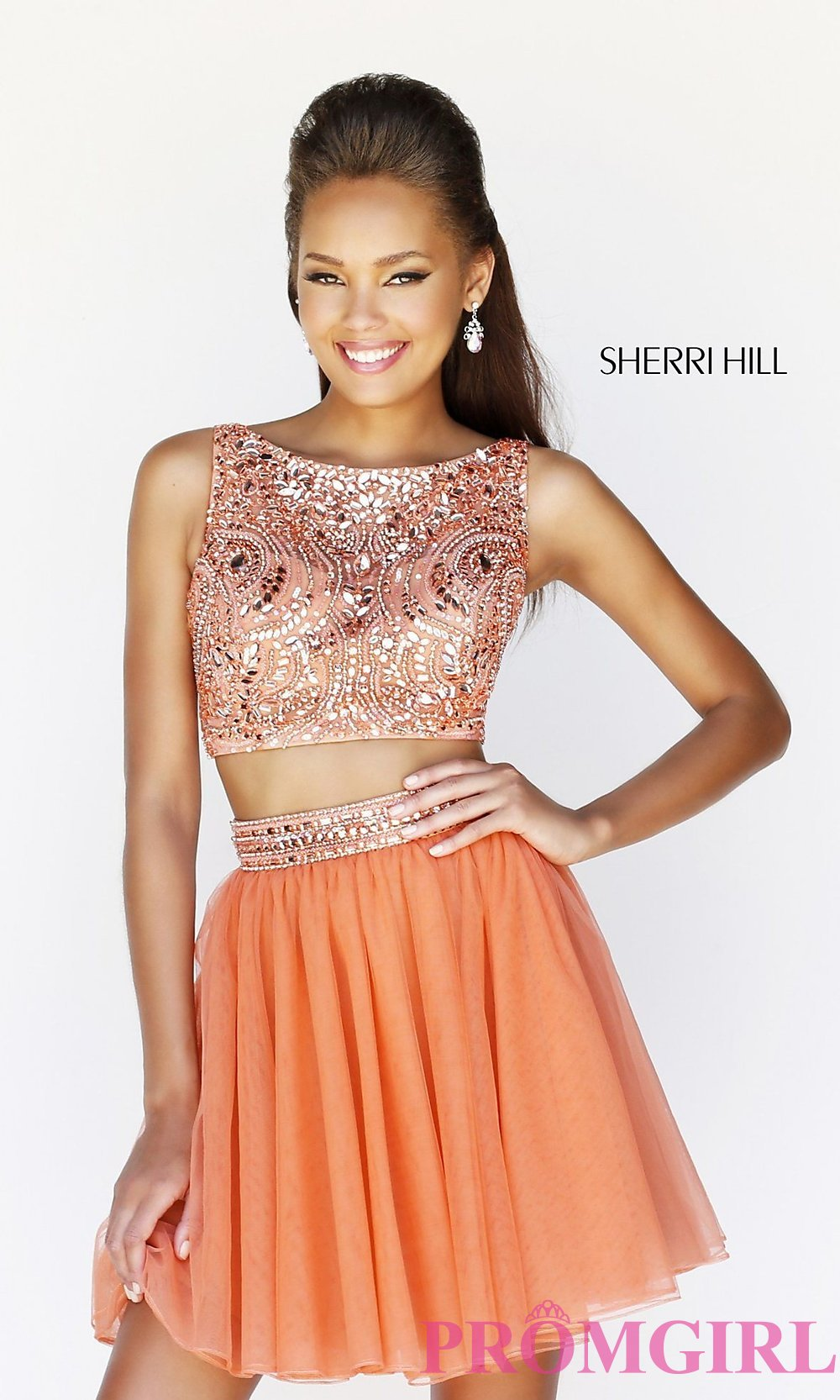 Short High Neck Two Piece Party Dress by Sherri Hill 11061