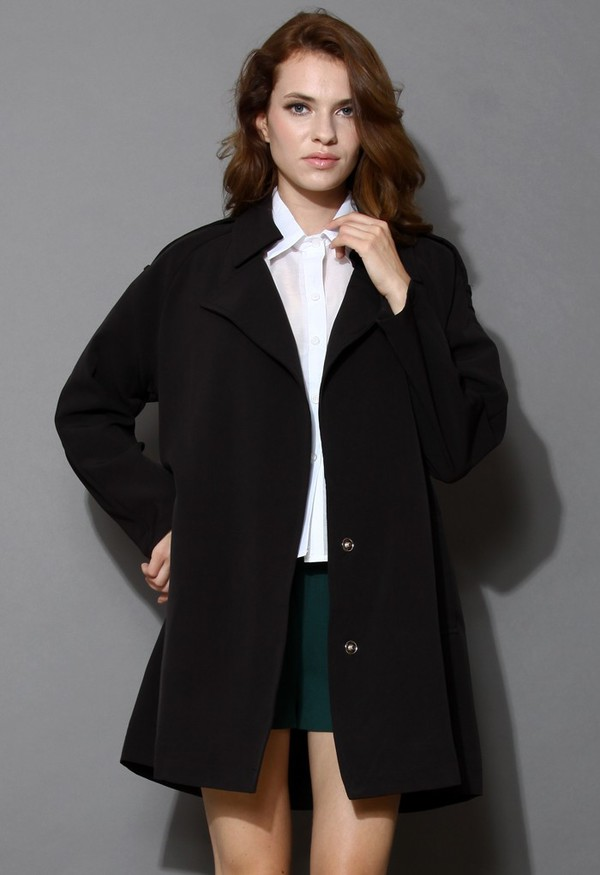 chicwish simplicity black trench coat