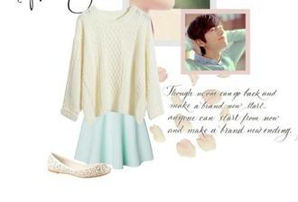 skirt pastel cute mint green skirt kpop