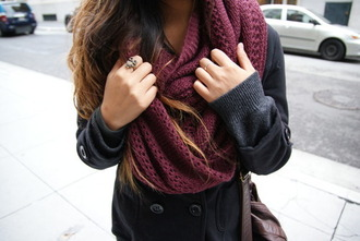 scarf clothes winter outfits fashion burgundy scarf knitted scarf coat fall outfits jacket style maroon/burgundy burgundy maroon scarf infinity scarf red accessories