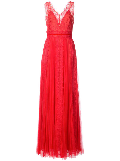 Marchesa Notte gown women lace red dress