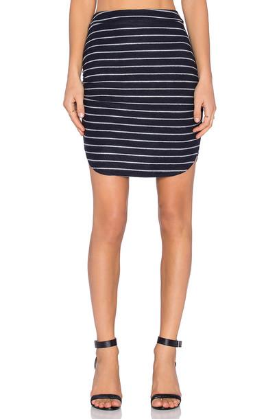 Bella Luxx Baby Loop Stripe Shirred Skirt in navy