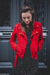 jacket,hun,tumblr,red jacket,suede,suede jacket,dress,mini dress,printed dress,earrings,jewels,jewelry
