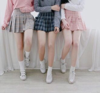 skirt cute kawaii sweet plaid grunge pastel short tumblr pink grey aesthetic school uniform school girl plaid skirt japan japanese japanese fashion japanese streets korean fashion korean style skater skirt