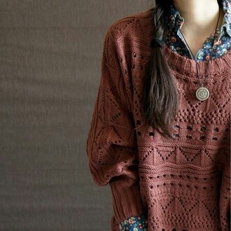 shirt floral hipster sweater