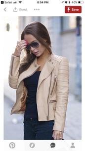 jacket,cream color leather jacket