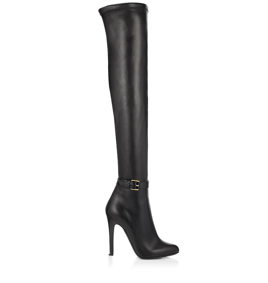 Black Calf Stretch Thigh High Boots | Over The Knee | Tamba | JIMMY CHOO Shoes