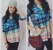 shirt,multicolor,grey beanie,gold watch,brown shoulder bag,button up shirt,ripped jeans,jewels,bag
