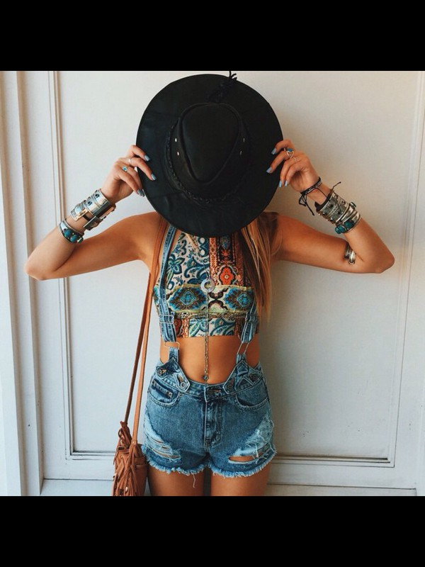 jumpsuit, top, colorful, crop tops, pattern, shorts, denim ...