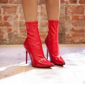 shoes nastygal red vegan leather patent heel patent shoes