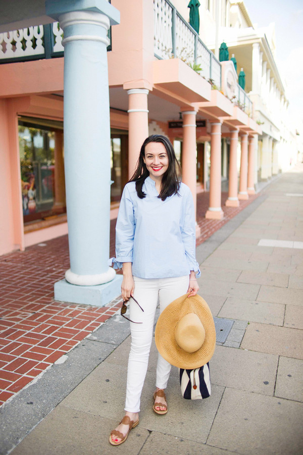 thecollegeprepster blogger blouse jeans shoes bag hat jewels sandals blue shirt white jeans spring outfits
