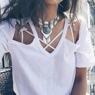 top t-shirt v neck dress style tumblr shirt bralette bra jewels