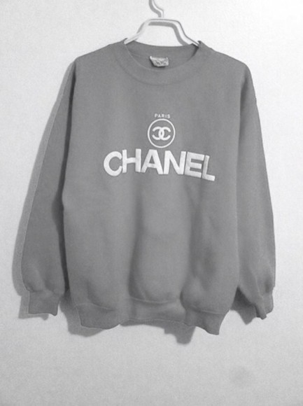sweater grey sweatshirt chanel