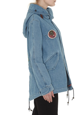 parka denim mini blue coat