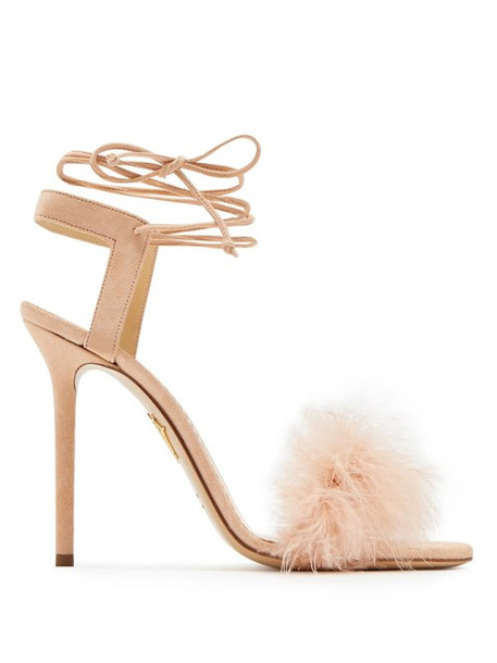 Charlotte Olympia - Salsa Feather Embellished Suede Sandals - Womens - Nude