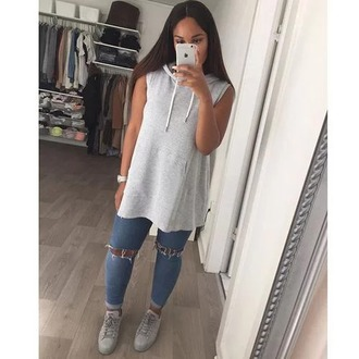 shirt sweater clothes hoodie fashion style top no sleeves sweatshirt grey urban ripped jeans iphone