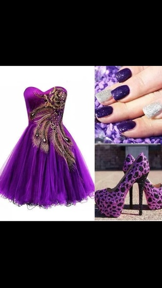 dress purple dress peacock