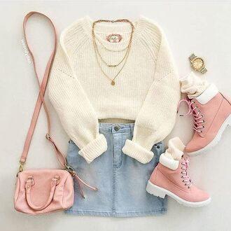 shoes rose pale timperland skirt jeans sweater