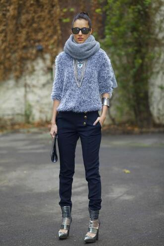blogger shoes bag from brussels with love pants scarf fuzzy sweater silver grey sweater