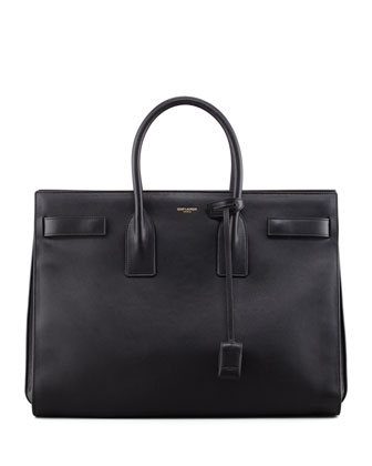 Saint Laurent Classic Sac De Jour Leather Tote Bag, Black